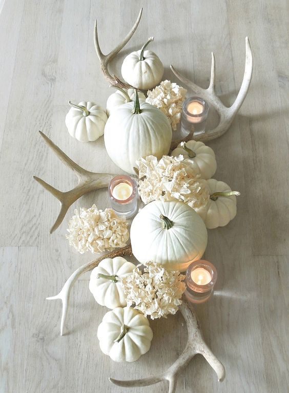 09 all white fall table centerpiece with pumpkins antlers and 09 all white fall table centerpiece with pumpkins antlers and flowers mightylinksfo
