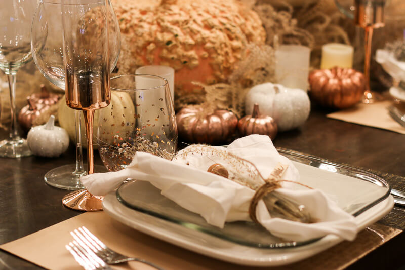Rose Gold/Message in a Bottle… Thanksgiving Table Setting